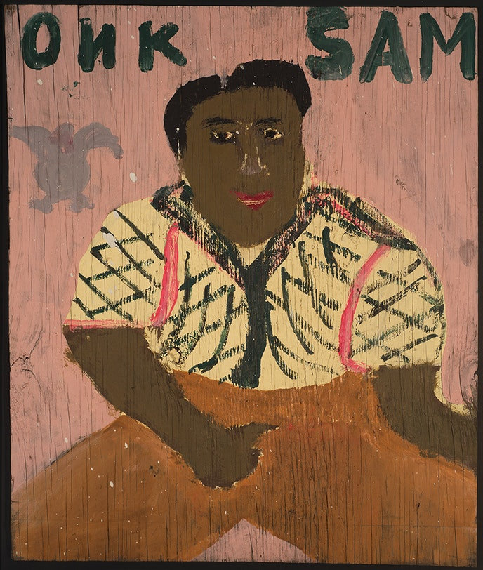 A self-portrait by Gullah artist Sam Doyle is part of the Southern art collection at the Gibbes Museum of Art.