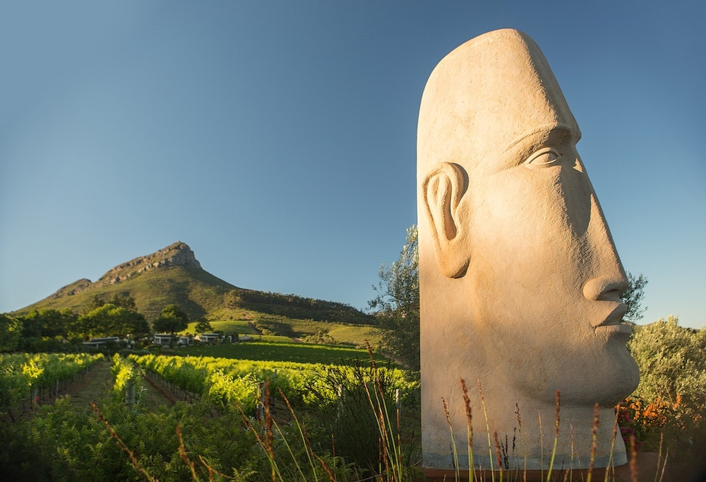 Anton Smit's Stone Head at the Delaire Graff estate