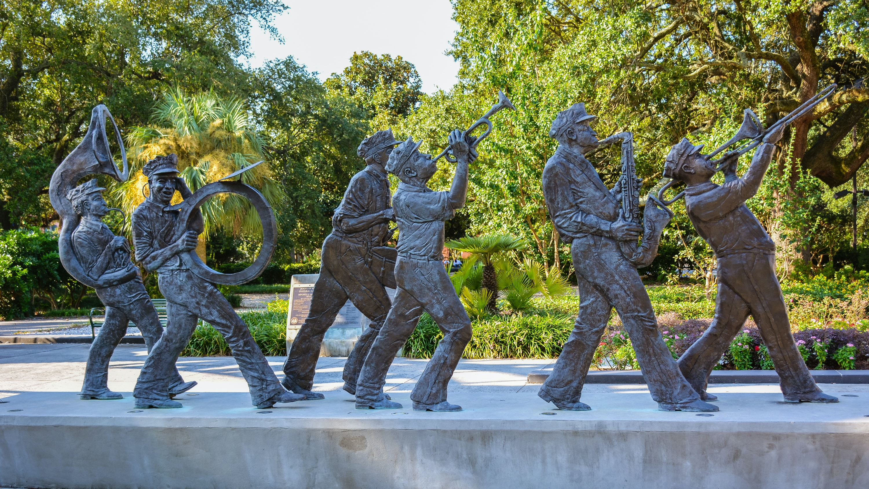 Louis Armstrong Park is full of statues.