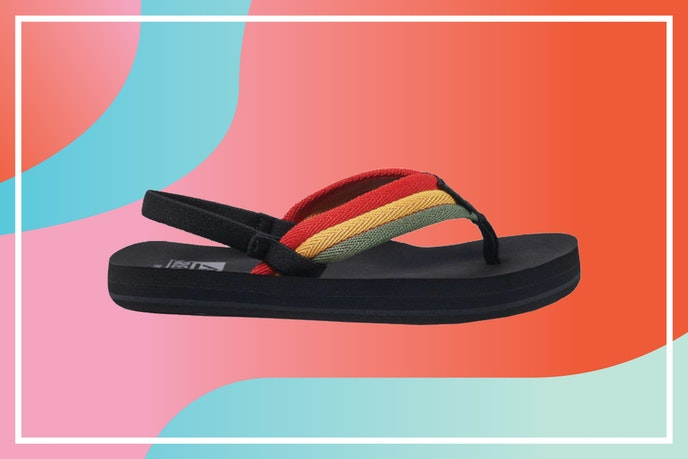 The Little Ahi Beach Sandals have all the ease of flip-flops, but their back strap keeps them secured on kids' feet.