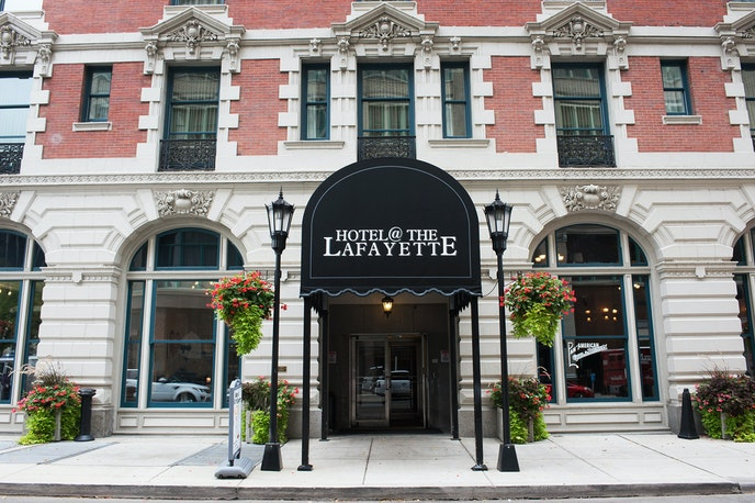 The Hotel @ The Lafayette occupies a building designed by the first female professional architect in the United States.