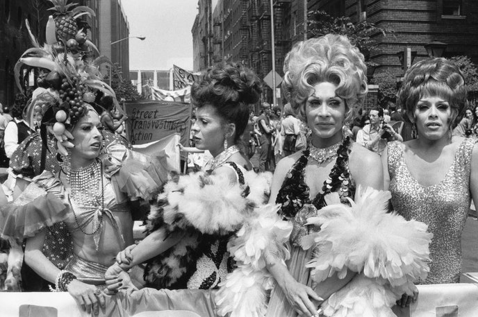 STAR (Street Transvestite Action Revolutionaries) march during the fourth annual Christopher Street Liberation Day March (also known as the NYC Pride March) on June 24, 1973.