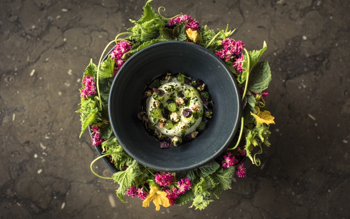 The Restaurant at Meadowood sources many ingredients from its nearby garden.