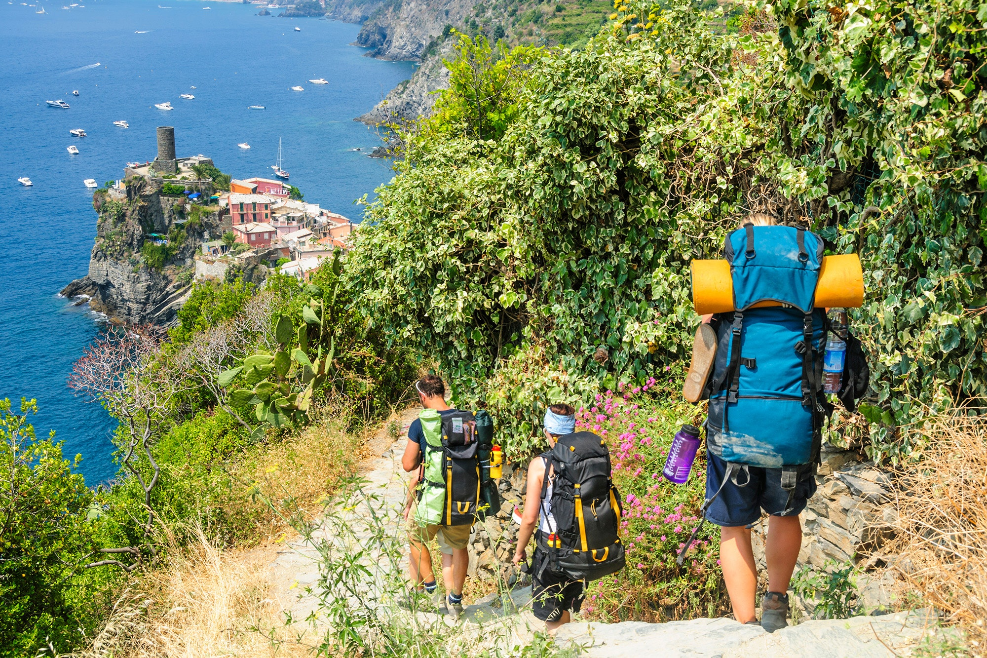 Hiking the Cinque Terre trails doesn't require backpacks, but you'll want a sturdy pair of walking shoes.