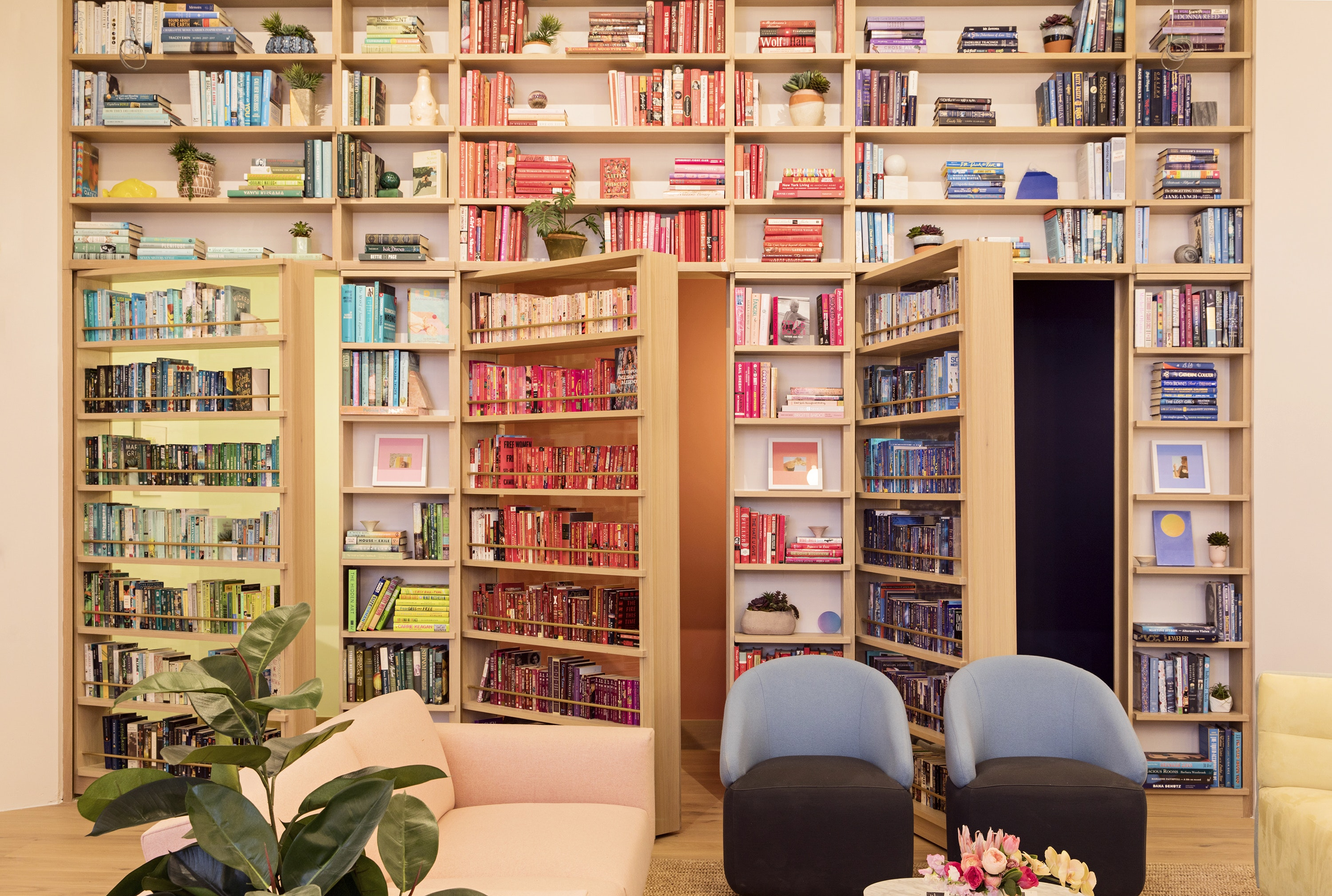 Each Wing offers books by women and nonbinary writers, all organized by color.