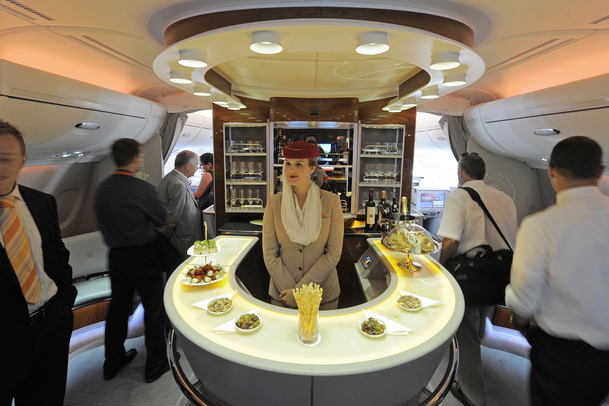 The bar in the first-class section on board an Airbus A380 passenger plane of Emirates Airline