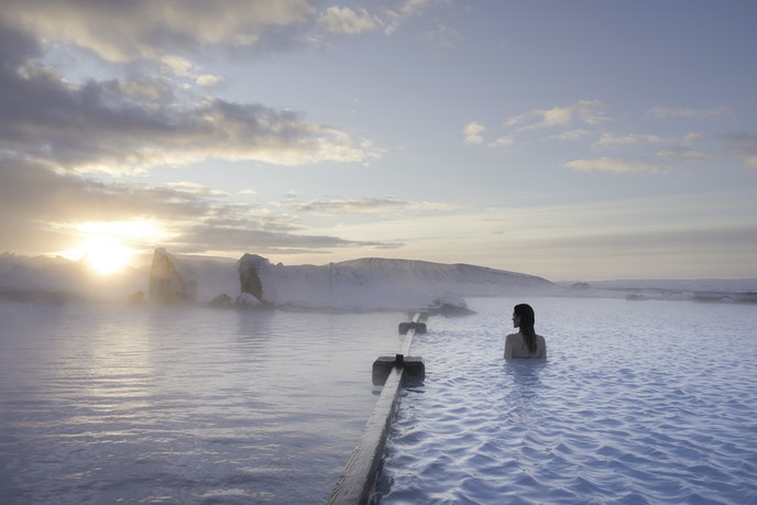 The heated waters at Mývatn Nature Bath originate from 8,000 feet below the earth's surface.