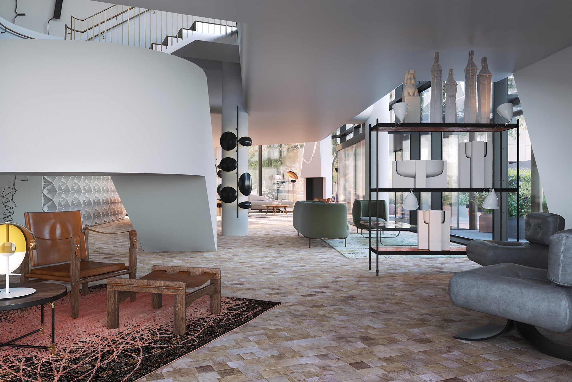 The design-focused lobby of the new Bankside hotel
