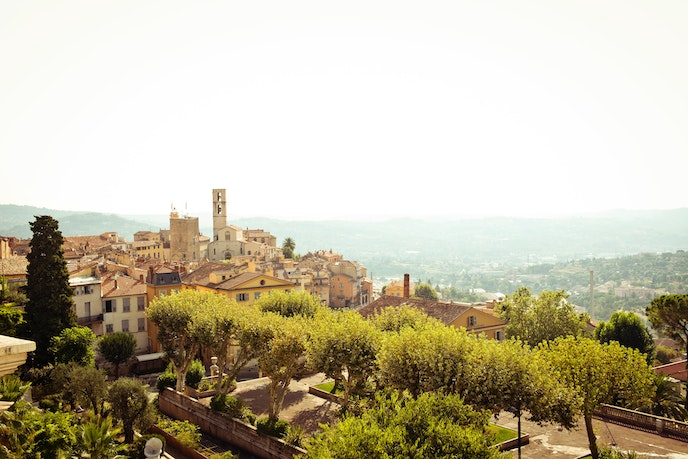 A hilltop view of Grasse, France, which was once known for its leather products.