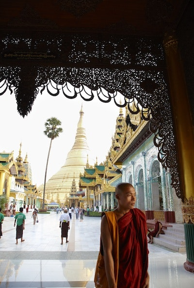 The Shwedagon Pagoda in Yangon is the most sacred of all Buddhist sites in Burma.