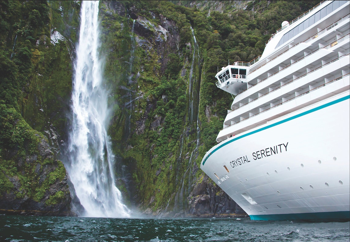 The Crystal Serenity cruises to New Zealand's Milford Sound as part of its 105-day around-the-world sailing.