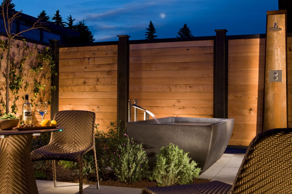 The freestanding tubs at Bardessono are heated by an underground geothermal system.
