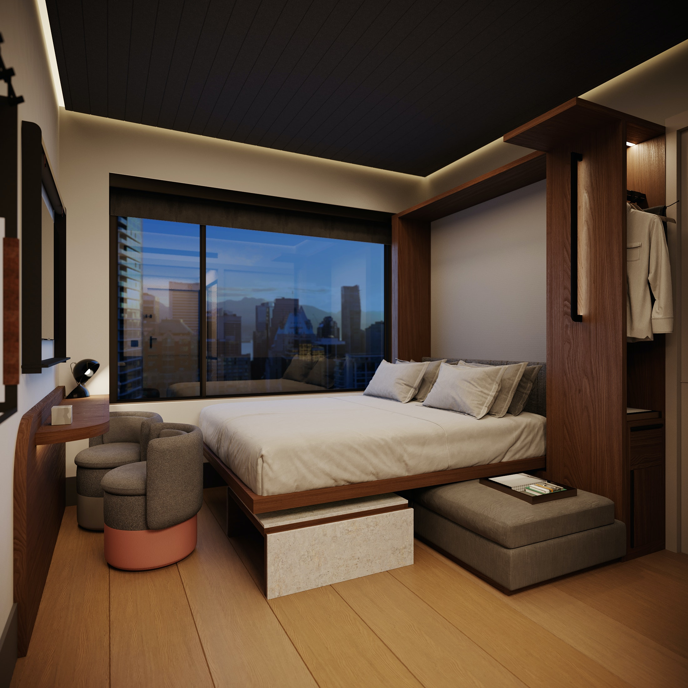 A bedroom with a Murphy bed pulled down.