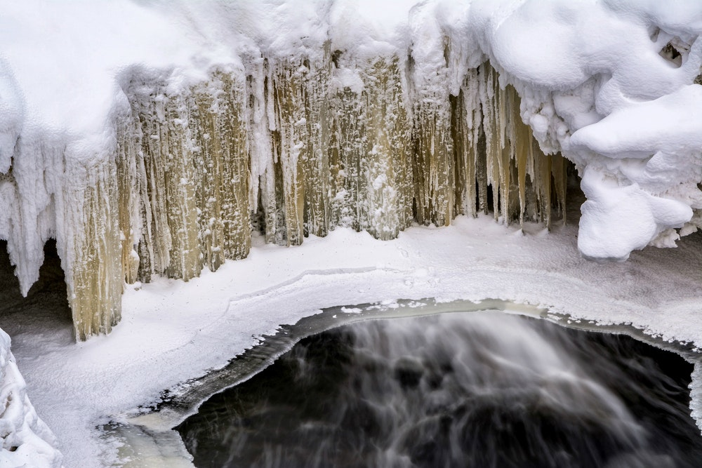 Cross-country skiers flock to Copper Falls State Park, near Ashland, Wisconsin, to whoosh by dramatic gorges and majestic frozen waterfalls.