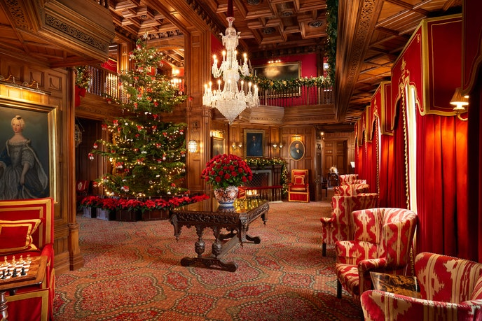It takes more than three days to decorate the Noble Fir Christmas tree at Ashford Castle.