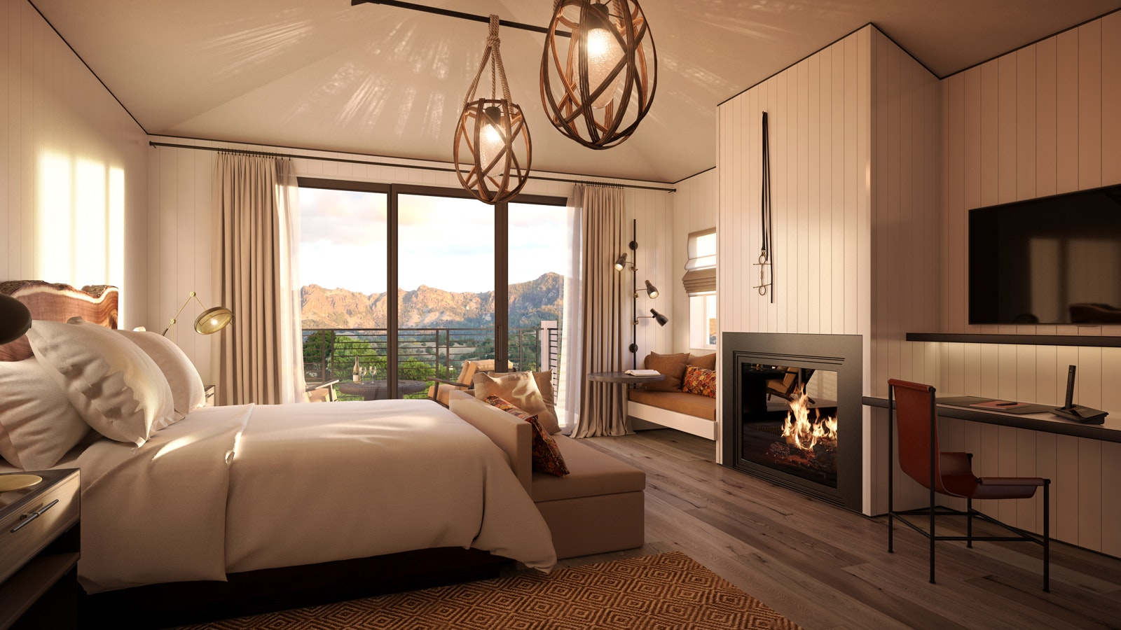 A room interior at the new Four Seasons outpost in Napa Valley