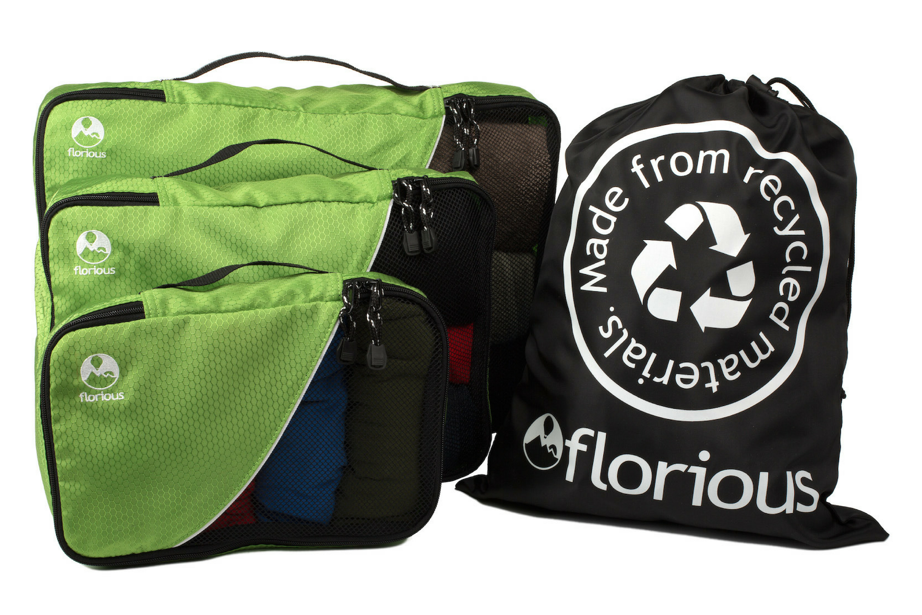 Florious Packing Cubes help you keep organized while traveling sustainably.
