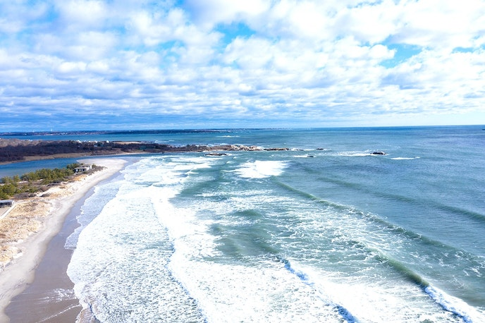 Surfers from all over the East Coast head to Narragansett Town Beach for its waves.