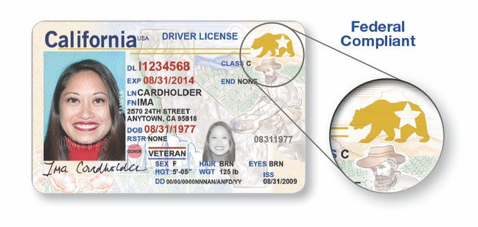 California Real ID–compliant driver's licenses feature a bear with a star embedded in it.