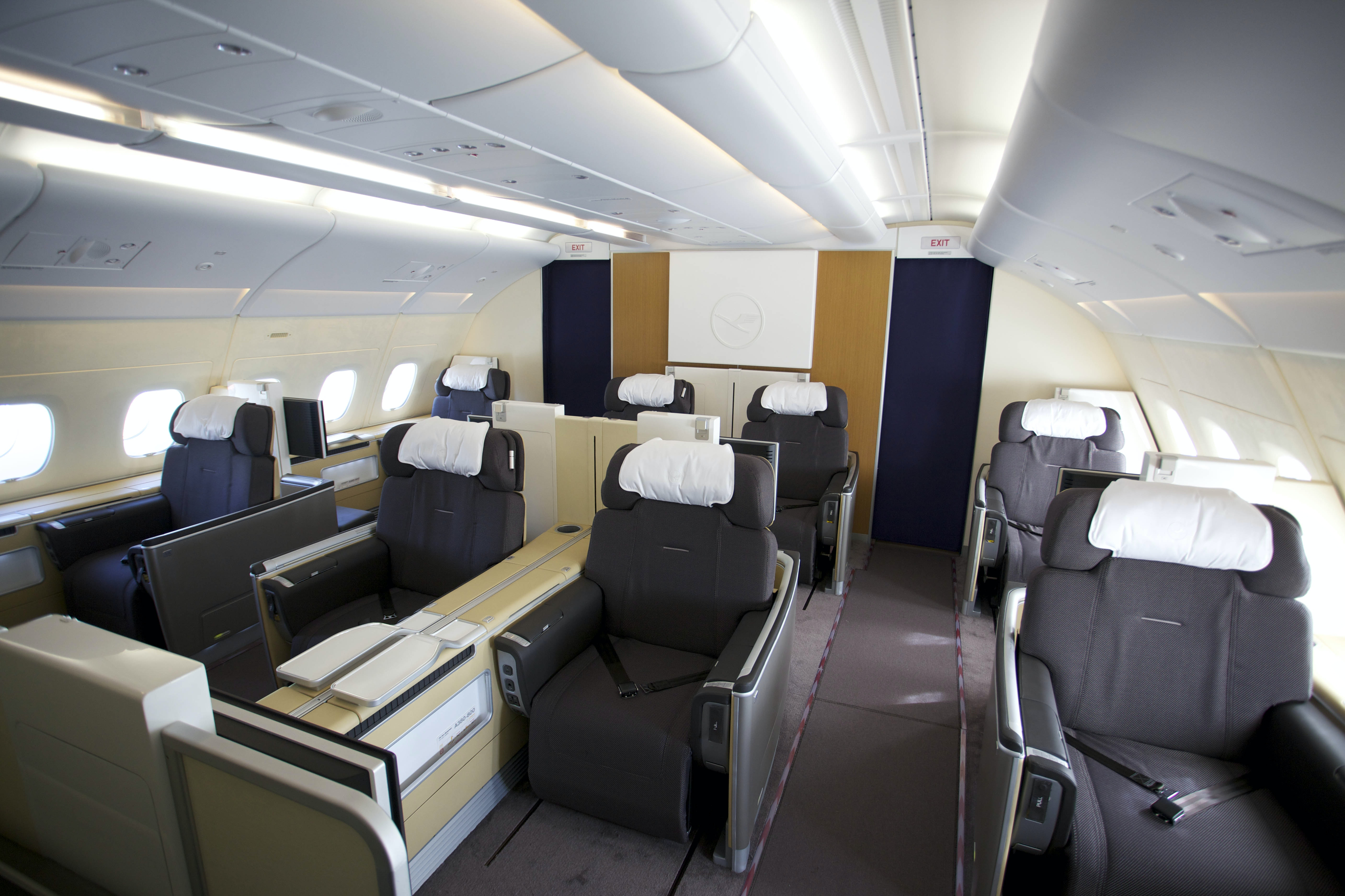 The spacious first-class seats on Lufthansa