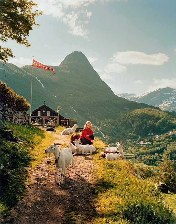 Café owner Iris Westerås with her goats and llamas above Geirangerfjord.