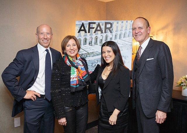 Pictured above from left: Sternlicht, AFAR Chief Revenue Officer Ellen Asmodeo-Giglio, Flowers, and Chavez