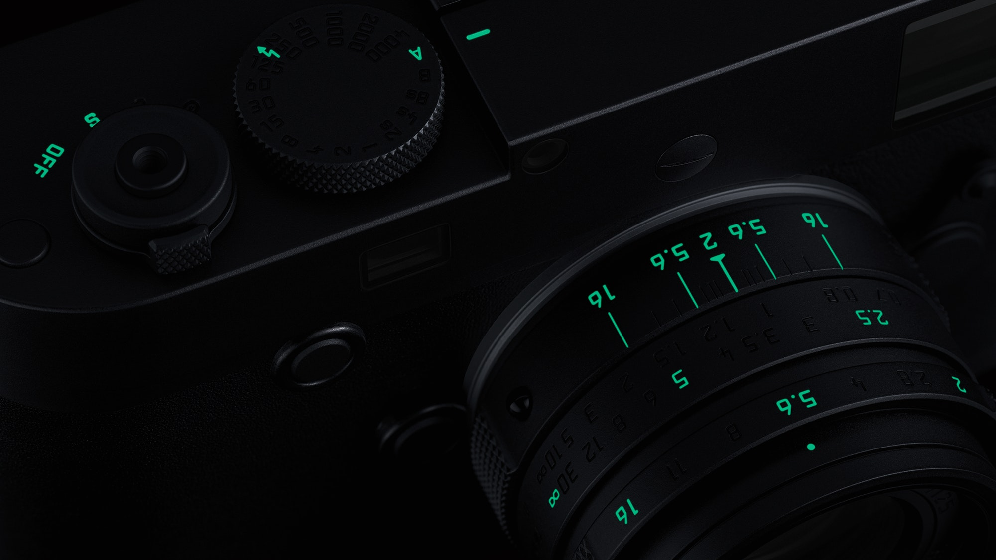 """Designed for low-light shooting, the """"Stealth Edition"""" M Monochrom  features glow-in-the-dark markings."""