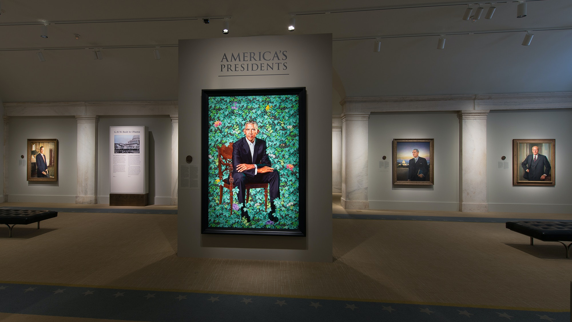 Kehinde Wiley's portrait of former President Barack Obama, at The Smithsonian's National Portrait Gallery