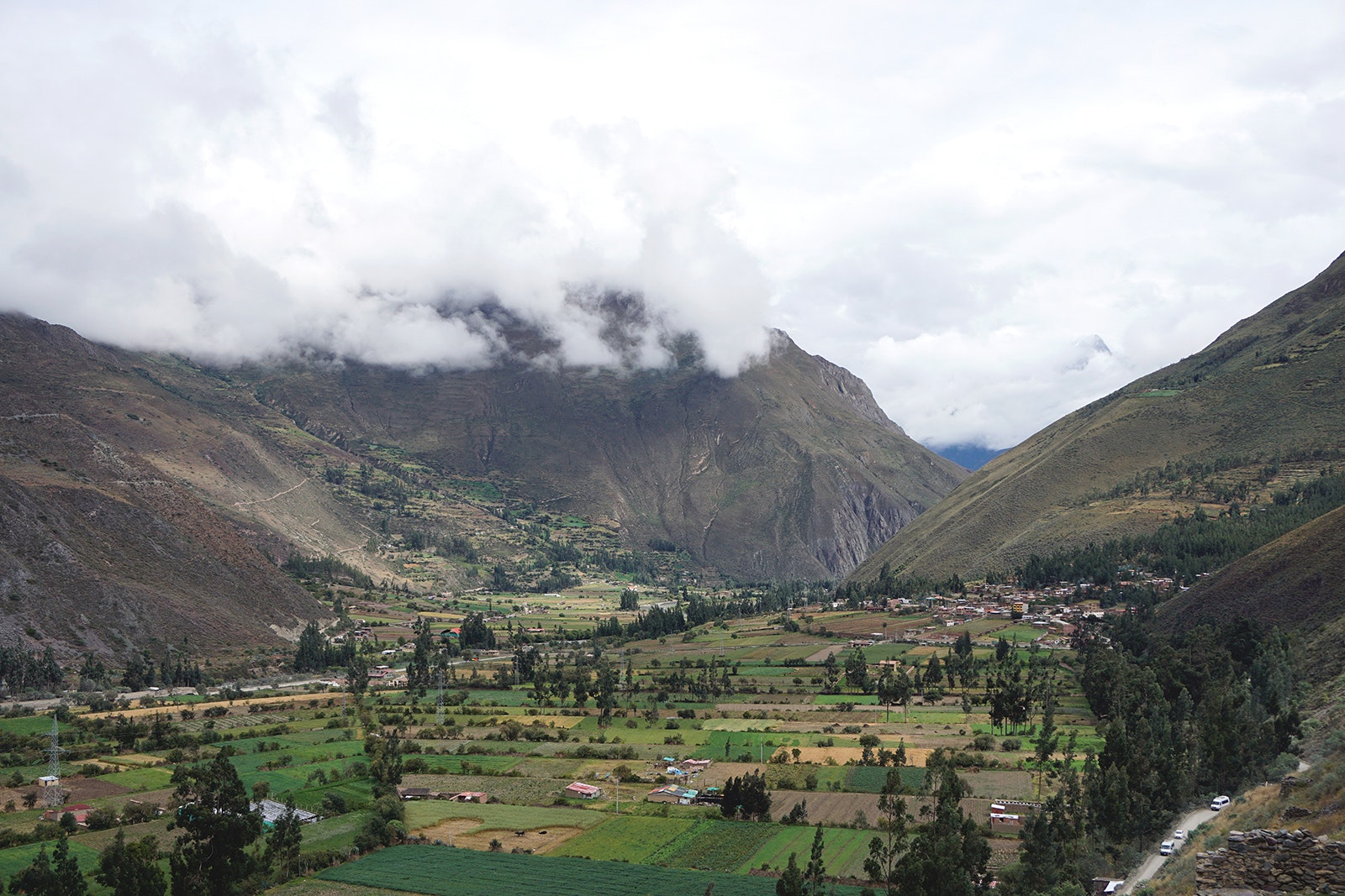 A view of the valley from Ollantaytambo, the starting point for the Inca Trail