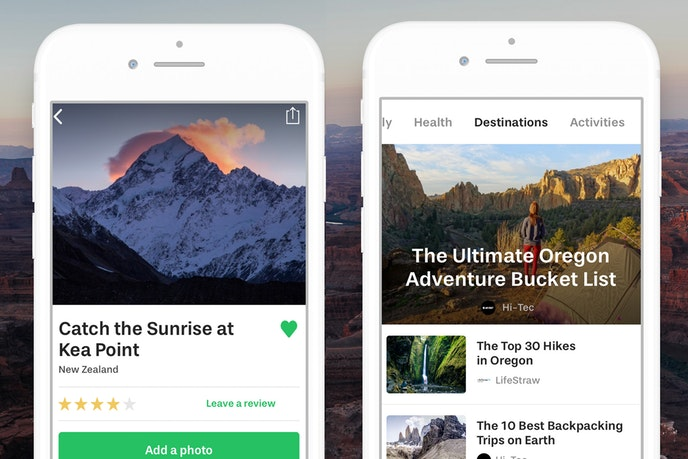 The Outbound app allows road trippers to find outdoor activities along their route.