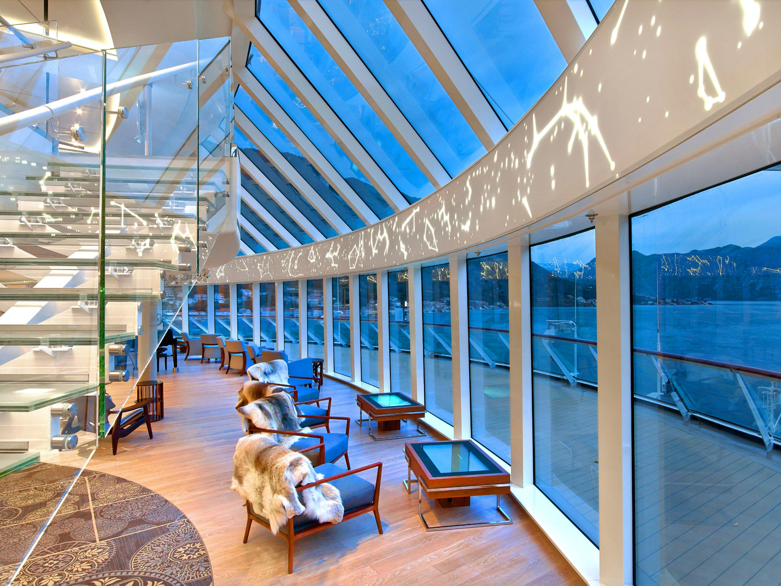 The views complement the style found in Viking's sophisticated Explorers' Lounge.