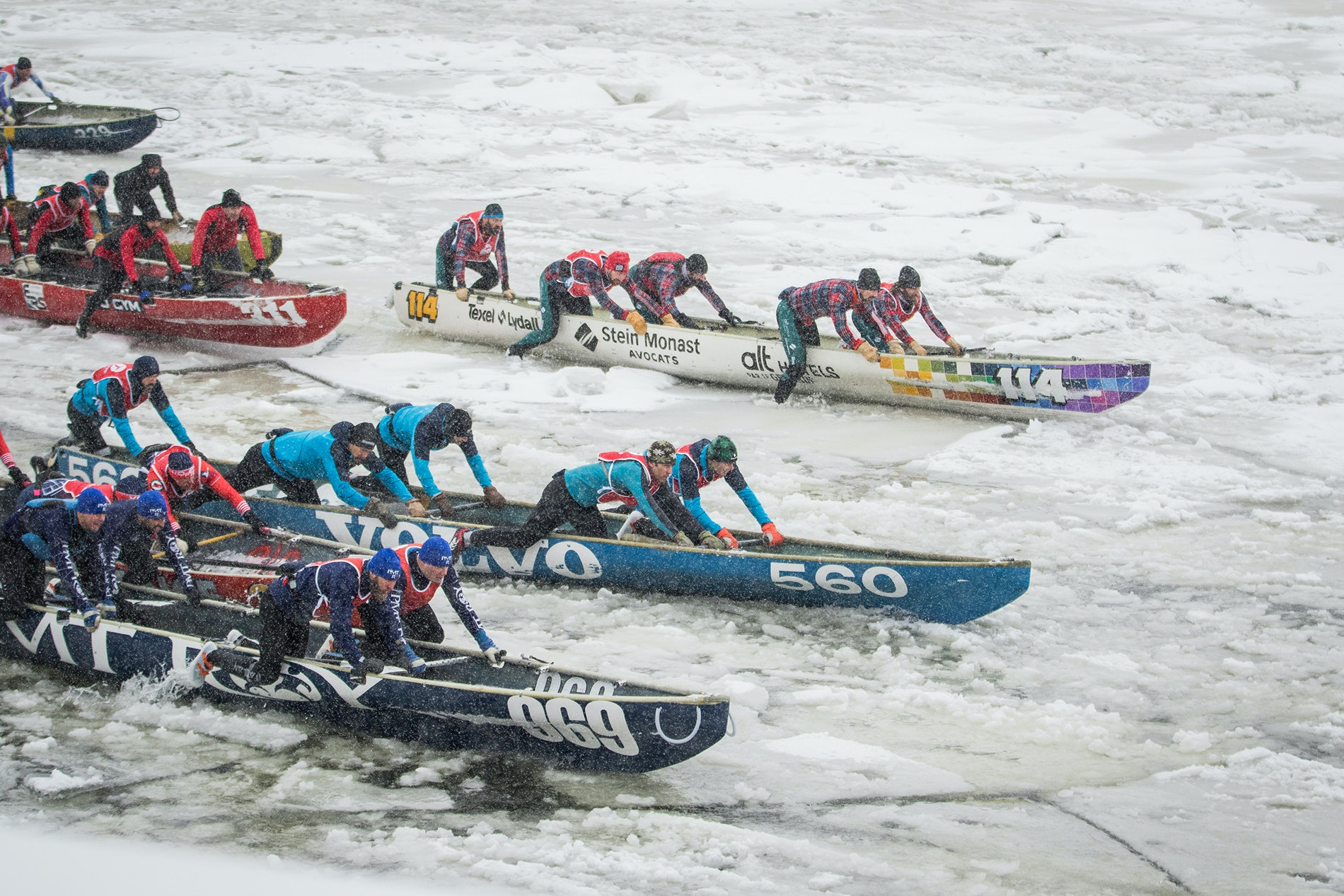 Only the hardiest competitors participate in ice canoe races across the St. Lawrence River, part of the Quebec Winter Carnival.