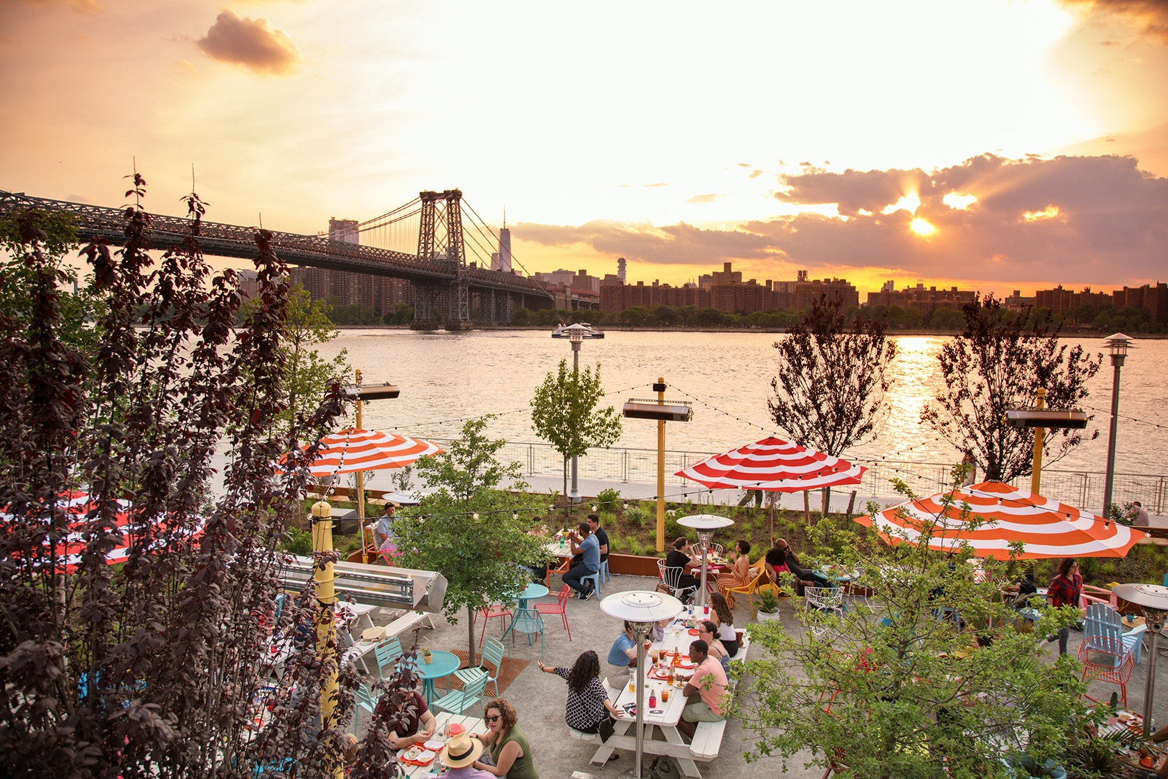 View of the Williamsburg Bridge and East River from Tacocina