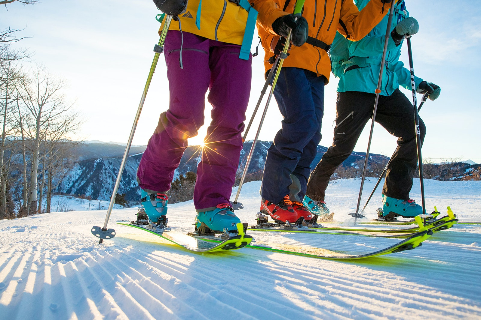 Special synthetic coverings attach to the bottom of skis and provide the necessary traction for uphill skiing.