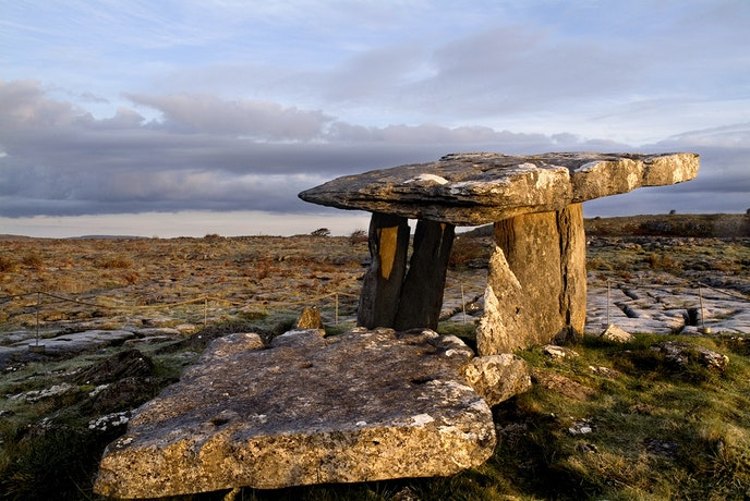The Burren is full of bare limestone plateaus and dotted with megalithic sites.