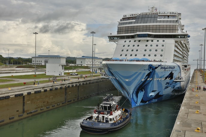 """The """"Norwegian Bliss"""" is one of two Norwegian Cruise Line mega-ships that crosses the Panama Canal."""