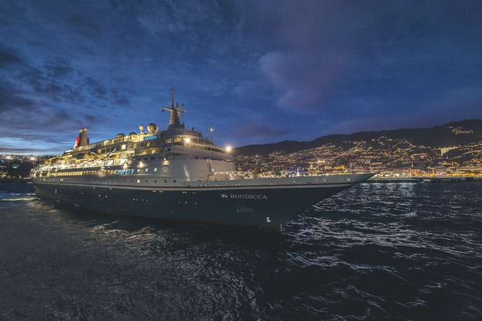 Fred Olsen Cruises's older Boudicca vessel calls in the Portuguese island of Madeira on its world cruise.