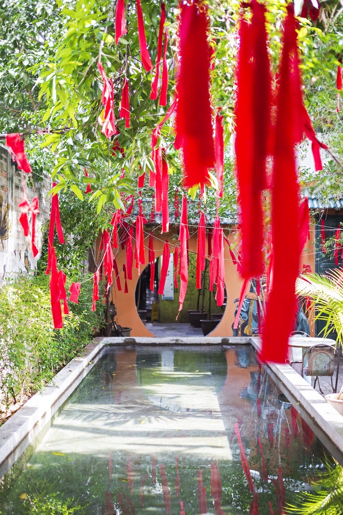 The sunny, open-air courtyard at China House, a café, shopping, and gallery space in Penang, Malaysia.