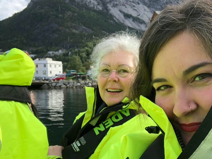 Writer Ashlea Halpern and her mom, Donna Halpern, on a boat excursion in Eidfjord, Norway