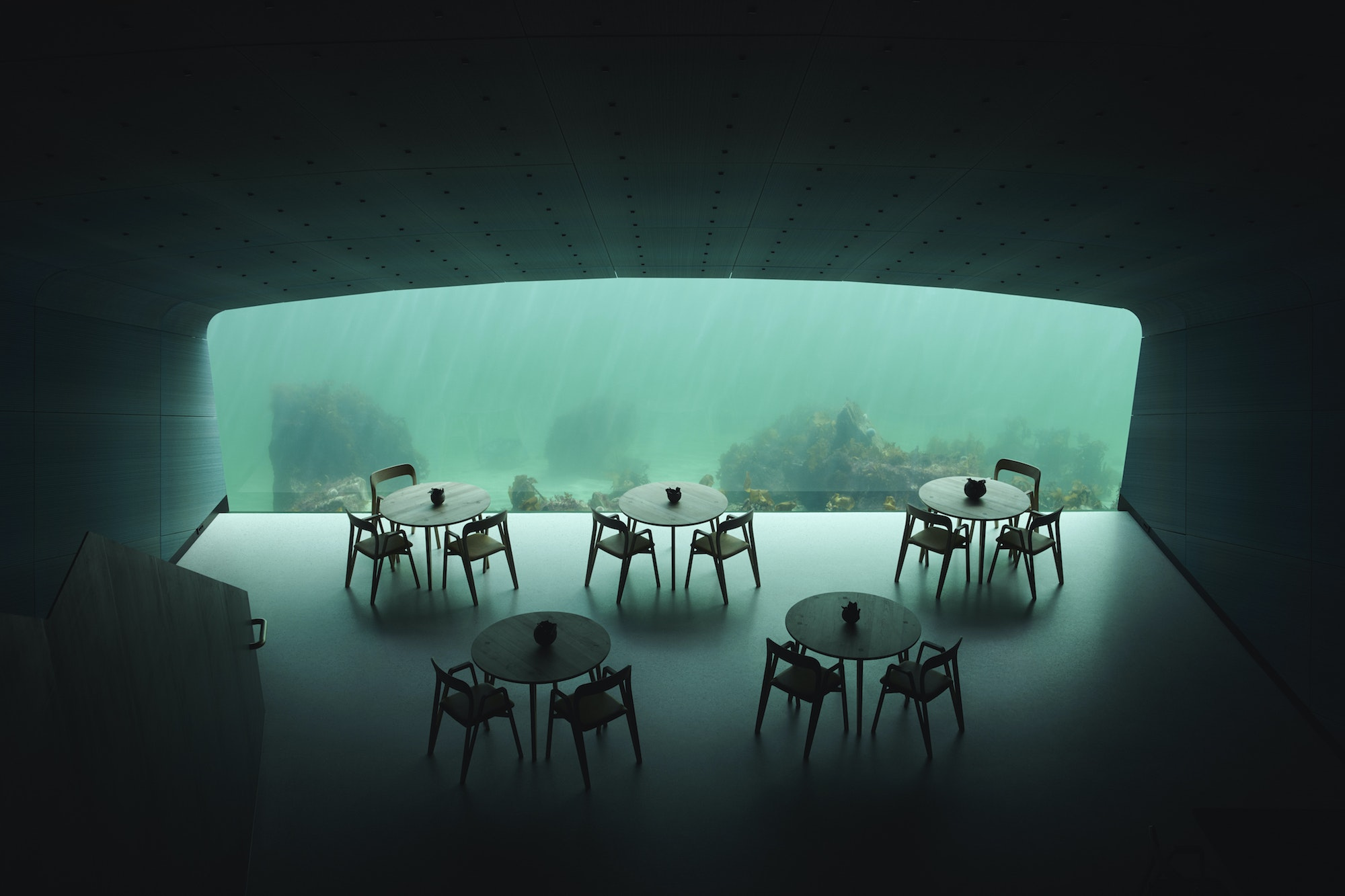 Under's massive dining room window offers a view of the seabed as it changes throughout seasons and varying weather conditions.