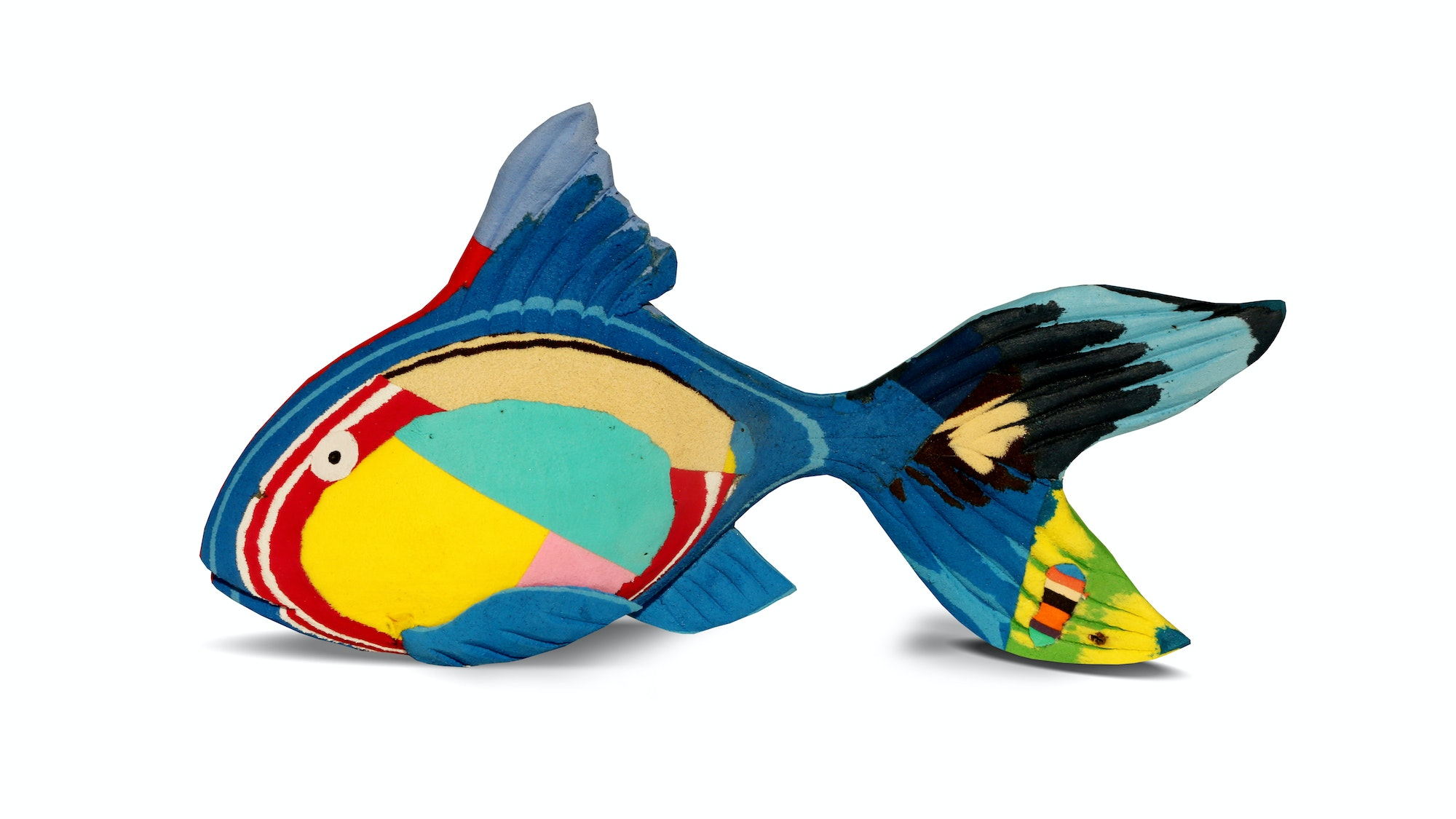 A reef fish sculpture, repurposed from plastic flip-flops, from Sea Star Beachwear X Ocean Sole's Bahari Collection, $45