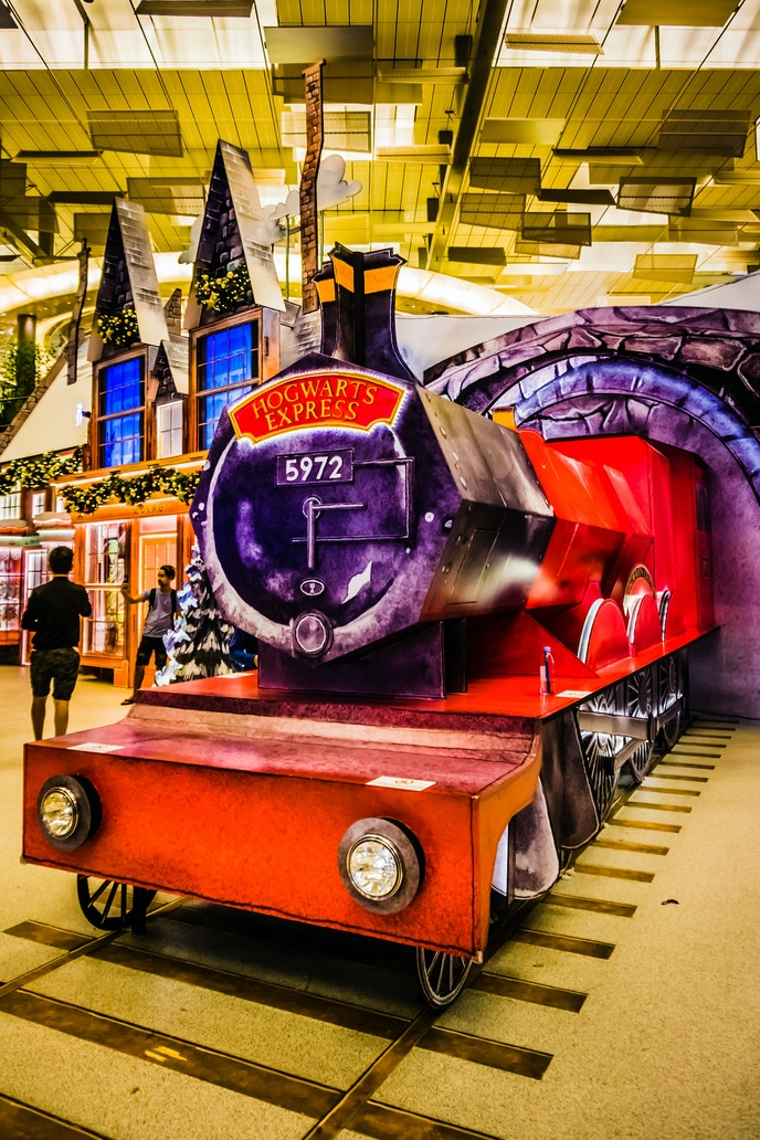 A recreation of Hogsmeade Village at Singapore's Changi Airport features the Hogwarts Express.