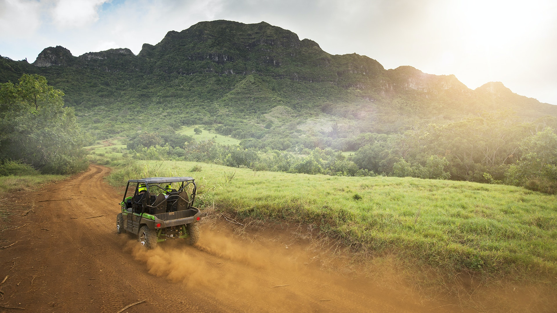 During the day-long tour, participants use ATVs to hop from one Kauai filming location to another.