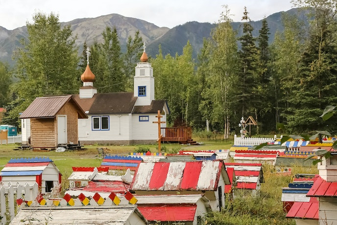 The St. Nicholas Church and the Eklutna Historical Park grounds include more than 100 spirit houses scattered across burial grounds.