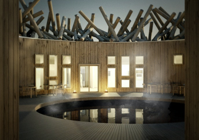 A rendering of the hotel's bathhouse, where an open ceiling invites guests to soak under the star-filled skies.