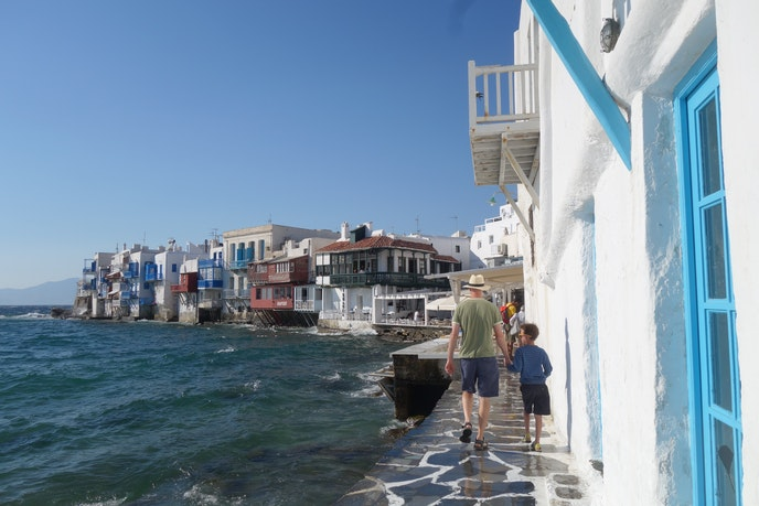 Jeremy and his family have explored the island of Mykonos in Greece during their worldwide travels.