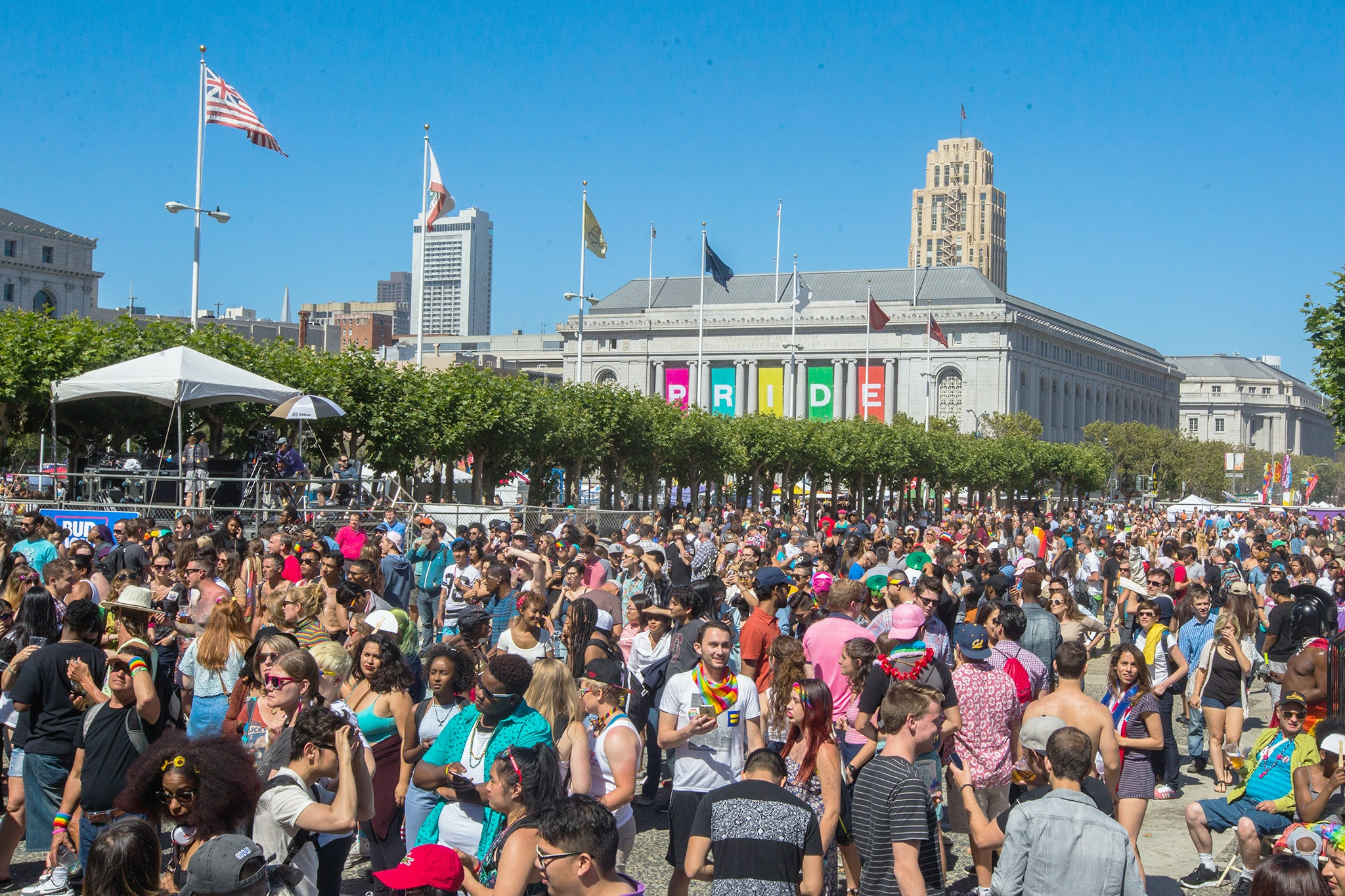 San Francisco hosts two days full of live performances and rallies celebrating LGBTQ Pride at the Civic Center Plaza.