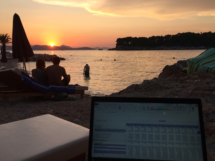 Just a casual Excel session on a Croatian beach at sunset.