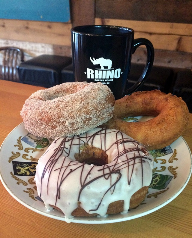 Beer donuts at Rhino Coffee House