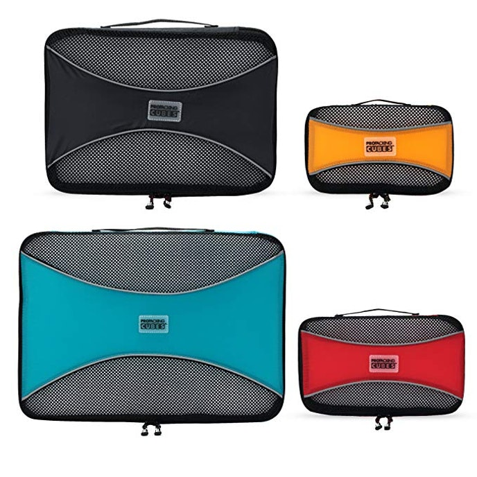 These lightweight luggage organizers comes in a variety of shapes and colors.